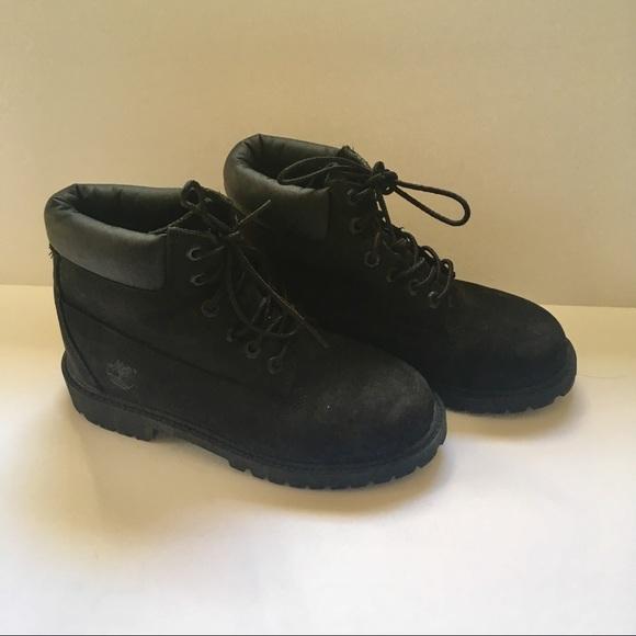 Boys 2 Timberland Hiking Black Nubuck Boots 12707